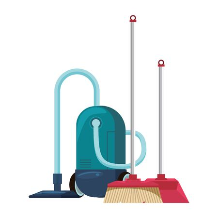 Cleaning equipment and products vacuum cleaner with broom and dustpan vector illustration graphic design.