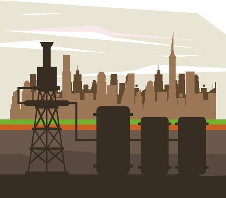 Oil pumps machinery silhouette in the city vector illustration graphic design