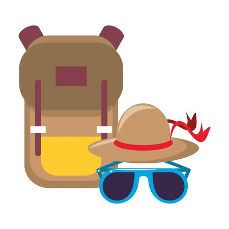 trip around the world symbols with backpack sunglasses and hat isolated symbol Vector design illustration Standard-Bild - 129817024