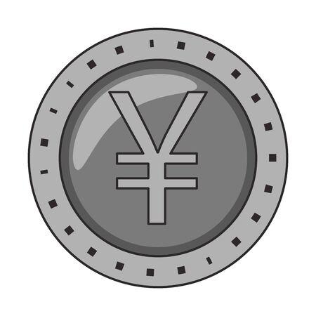 Yen coin money symbol isolated vector illustration