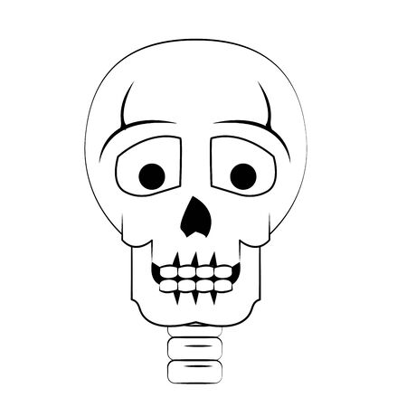 skull dead human anatomy with candle cartoon vector illustration graphic design Zdjęcie Seryjne - 129817044