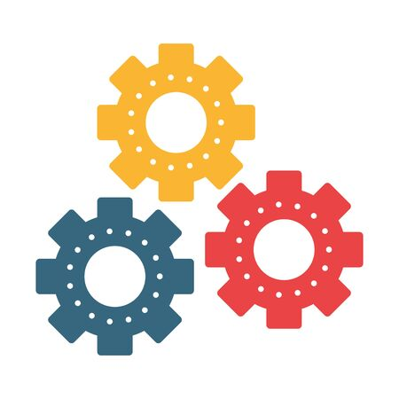Gears machinery pieces symbol isolated vector illustration graphic design Иллюстрация