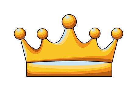 golden crown icon cartoon isolated vector illustration graphic design
