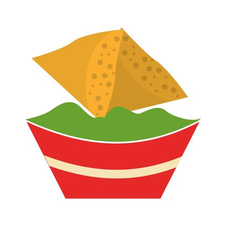 mexico culture and foods cartoons plate with guacamole also nachos vector illustrationgraphic design Иллюстрация