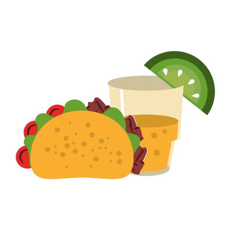 mexico culture and foods cartoons glass lemon cut on the edge and taco vector illustration graphic design Иллюстрация