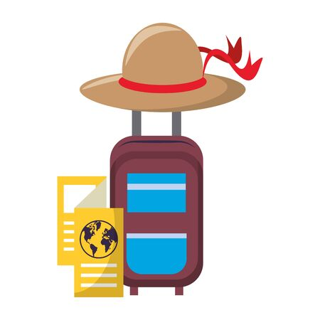 cabin bag with brown hat with map and travel itinerary isolated symbols Vector design illustration