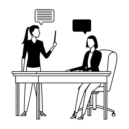 business business people businesswoman holding a wand and businesswoman sitting on a desk with speech bubbles avatar cartoon character in black and white Illustration
