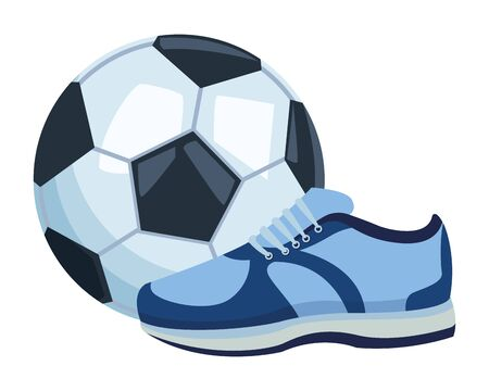 soccer balloon and sneaker icon cartoon isolated vector illustration graphic design Stockfoto - 129817070