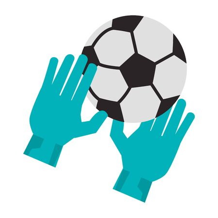 Soccer golakeeper gloves with ball sport cartoon vector illustration graphic design Иллюстрация