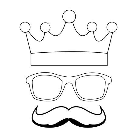 golden crown glasses and moustache icon cartoon in black and white vector illustration graphic design
