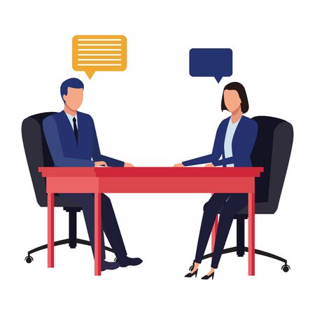 business business people businessman and businesswoman sitting on a desk with speech bubbles avatar cartoon character vector illustration graphic design Illustration