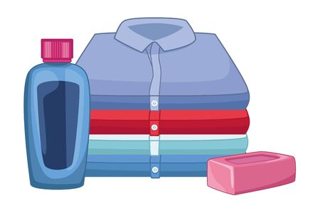 laundry wash and cleaning soap bar, cleaning shampoo and folded clothes icon cartoon vector illustration graphic design Ilustrace