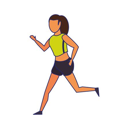 Fitness woman running cartoon isolated vector illustration graphic design