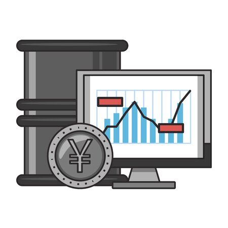 Online stock market investment petroleum barrel with yen coin and pc symbols vector illustration Zdjęcie Seryjne - 129817122
