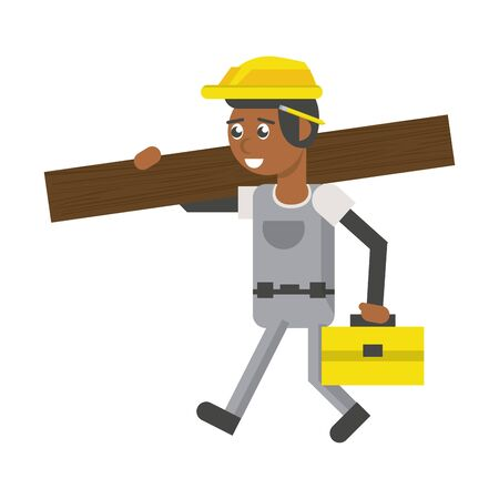 Construction worker smiling and holding toolbox and plank cartoon isolated vector illustration graphic design Иллюстрация