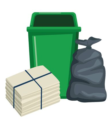 plastc garbage can, paper pile moored and bag icon cartoon vector illustration graphic design