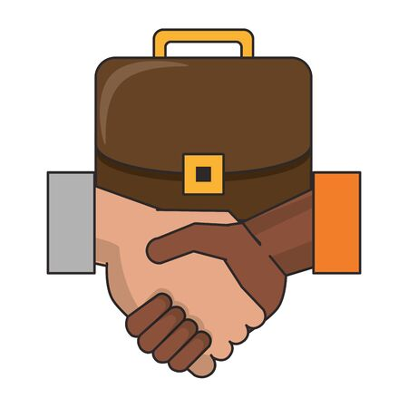 Business briefcase and hands shaking vector illustration