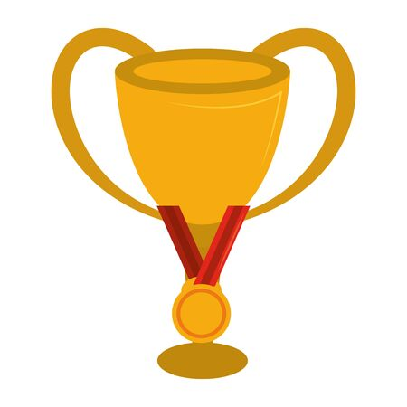Soccer trophy cup tournament and first place medal vector illustration graphic design