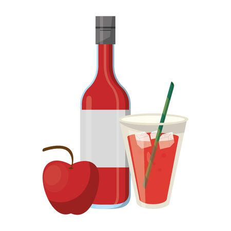 delicious tropical fruit with fruit juice and apple icon cartoon vector illustration graphic design