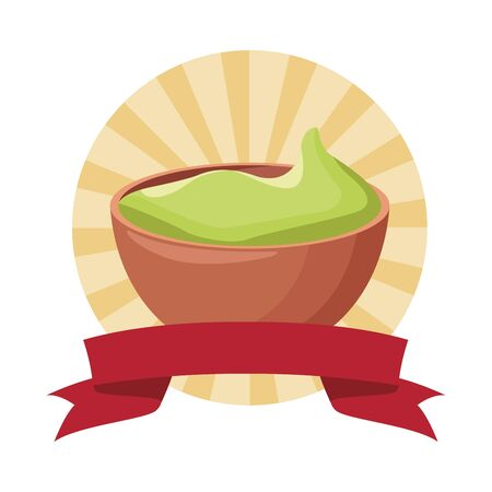 mexican food and tradicional culture with a guacamole icon cartoon in round icon pop art background with ribbon banner vector illustration graphic design Illusztráció