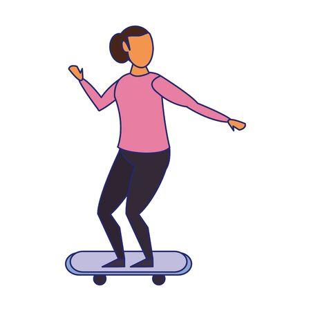 Woman riding on skateboard isolated cartoon vector illustration graphic design Ilustração
