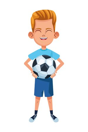 little kid boy carrying a soccer balloon and smiling avatar cartoon character portrait isolated vector illustration graphic design