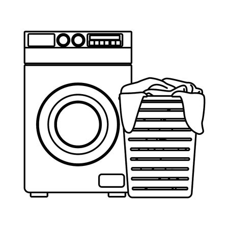 laundry wash and cleaning dirty clothes in a basket and washing machine icon cartoon in black and white vector illustration graphic design Standard-Bild - 129817257