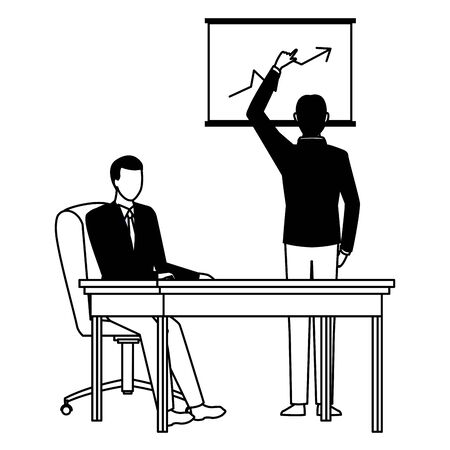 business business people businessman back view pointing a data chart and businessman sitting on a desk avatar cartoon character in black and white