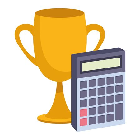 Office elements and business symbols trophy cup and calculator ,vector illustration graphic design.