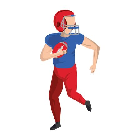american football sport game player training with ball and wearing helmet cartoon vector illustration graphic design Ilustração