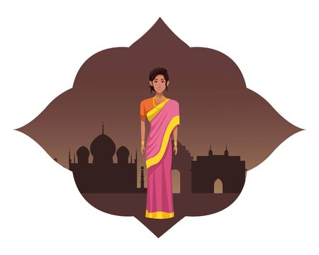 indian woman wearing traditional hindu clothes woman with sari and jewelry with taj mahal indian monument silhouette into arabic shape