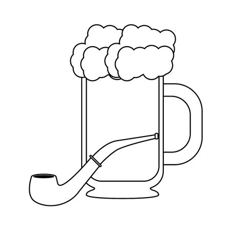 beer glass fresh alcoholic drink with tobacco pipe cartoon vector illustration graphic design Çizim