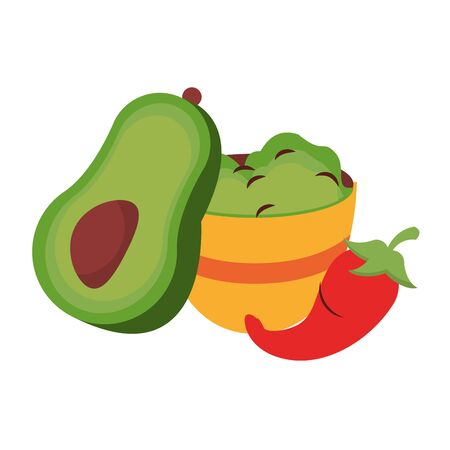 mexico culture and foods cartoons plate with guacamole and avocado also jalapeno vector illustrationgraphic design