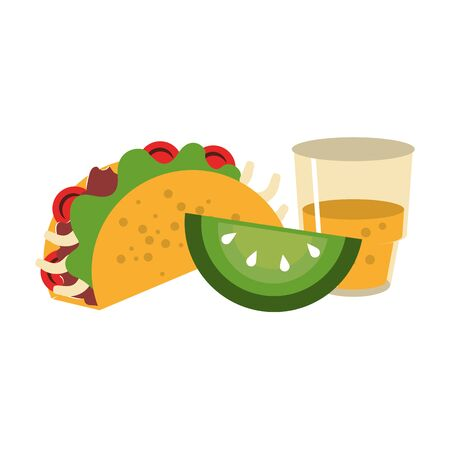 mexico culture and foods cartoons glass and lemon cut also taco vector illustration graphic design