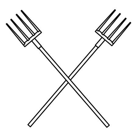 farm, animals and farmer crossed rake icon cartoon in black and white vector illustration graphic design