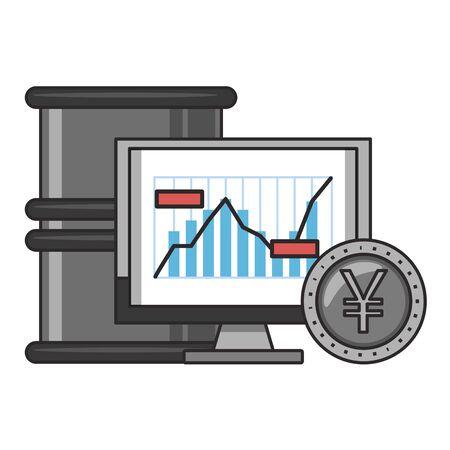 Online stock market investment computer wit yen coin and petroleum barrel symbols vector illustration Zdjęcie Seryjne - 129817308