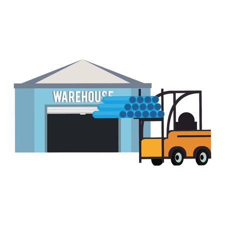 Warehouse storage and forklift with pvc pipes vector illustration