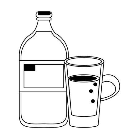 healthy drink juice orange nature bottle cartoon vector illustration graphic design  イラスト・ベクター素材