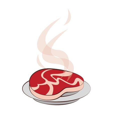 Barbecue beef steak grilled in dish cartoon vector illustration graphic design