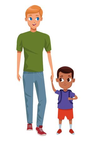 Family single father with kid holding school backpack isolated vector illustration graphic design Иллюстрация