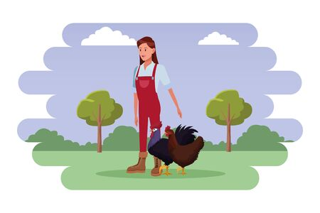 farm, animals and farmer woman wearing overall with rooster and hen avatar cartoon character over the grass with shrubbery, trees and clouds vector illustration graphic design