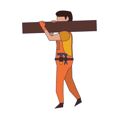 Carpenter with tools holding wooden plank vector illustration graphic design