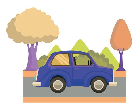 Vintage classic car side view cartoon on highway with landscape scenery ,vector illustration graphic design. Banque d'images - 130987988