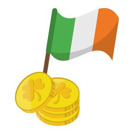 saint patricks day irish tradition golden coins with ireland flag cartoon vector illustration graphic design