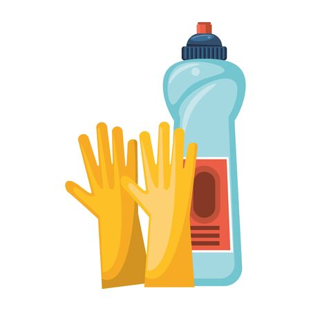 Cleaning equipment and products gloves and soap bottle vector illustration graphic design.