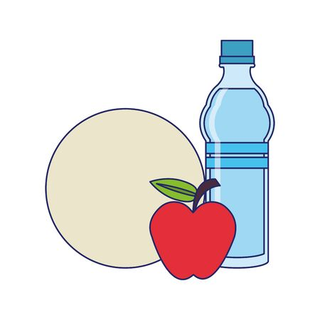 food and healthy life and apple water flask plate symbols vector illustration graphic design