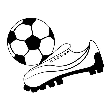 Soccer sport game boot kicking ball isolated vector illustration graphic design