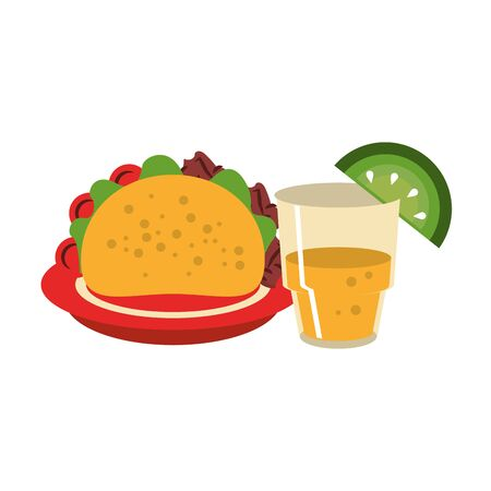 mexico culture and foods cartoons tequila bottle and glass lemon cut on the edge and plate taco vector illustration graphic design