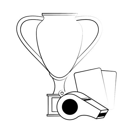 Soccer football sport game trophy cup and referee cards with whistle vector illustration graphic design Stock Illustratie