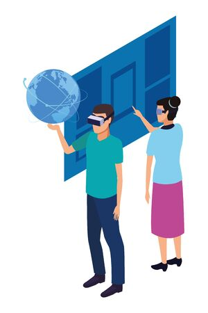 virtual reality technology, young couple living a modern digital experience with headset glasses touching screen cartoon vector illustration graphic design